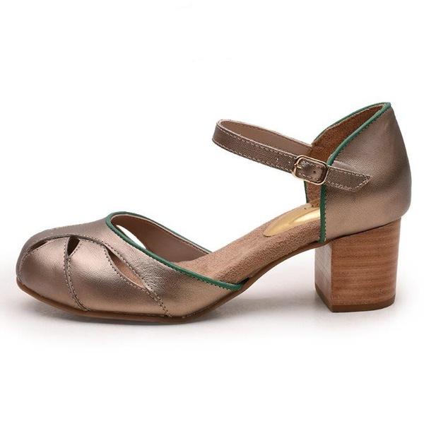 Sapato Feminino Retrô Bahamas Em Couro Legítimo Prata Velho/Verde