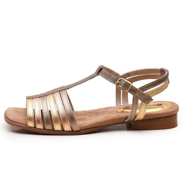 Sandália Feminina Flat Bora Em Couro Legitimo Ouro/Bronze/Prata Velho