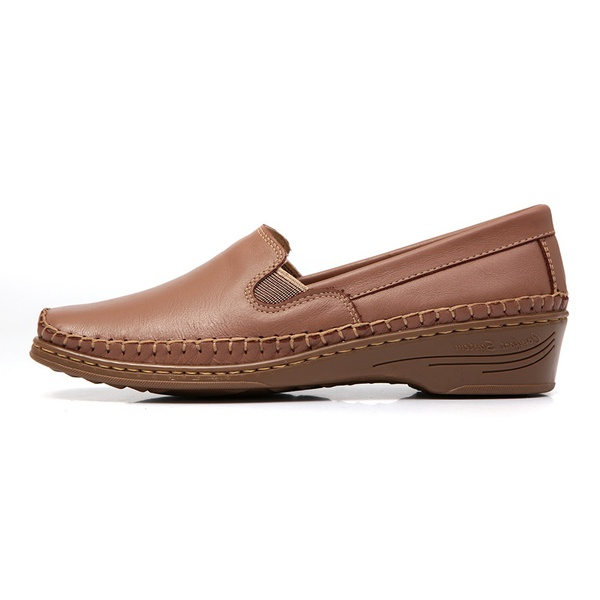 Sapato Feminino Anabela em Couro Legitimo Whisky