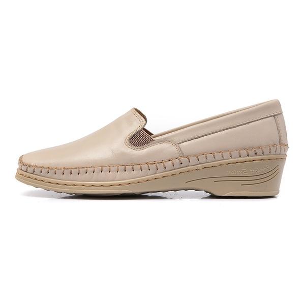 Sapato Feminino Anabela em Couro Legitimo Marfim