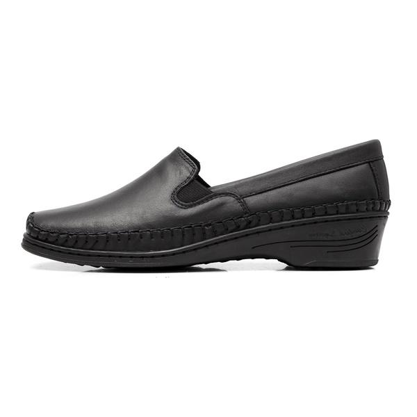 Sapato Feminino Anabela em Couro Legitimo Preto