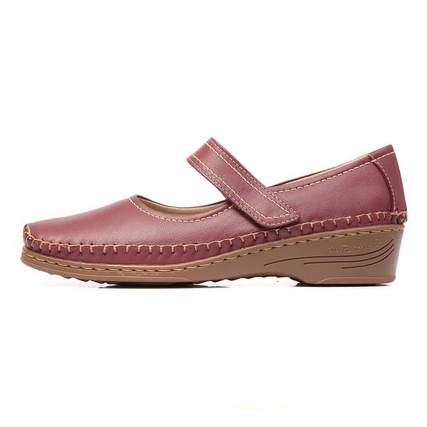 Sapato Feminino Anabela em Couro Legitimo Morango