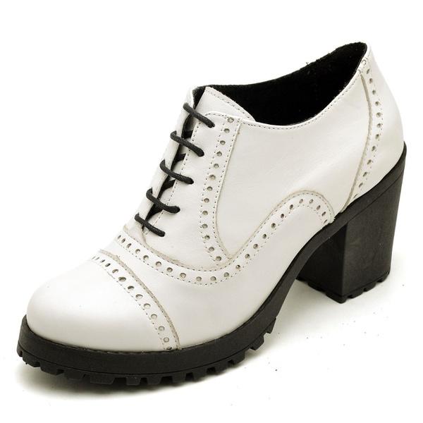 Sapato Feminino Oxford em Couro Legitimo Confort Branco