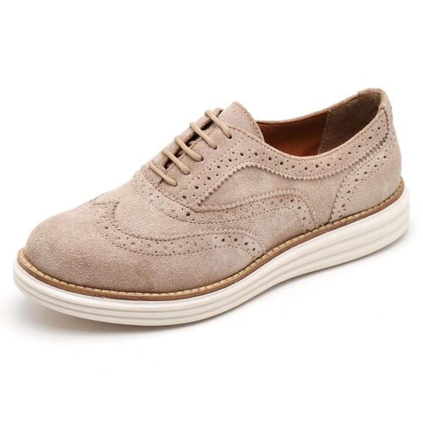 Sapato Oxford Feminino em Couro Camurça Areia