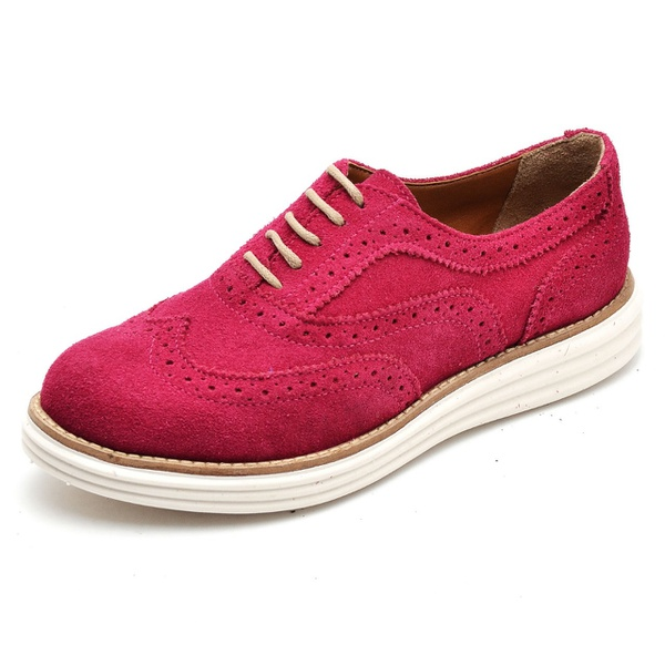 Sapato Oxford Feminino em Couro Camurça Fúcsia