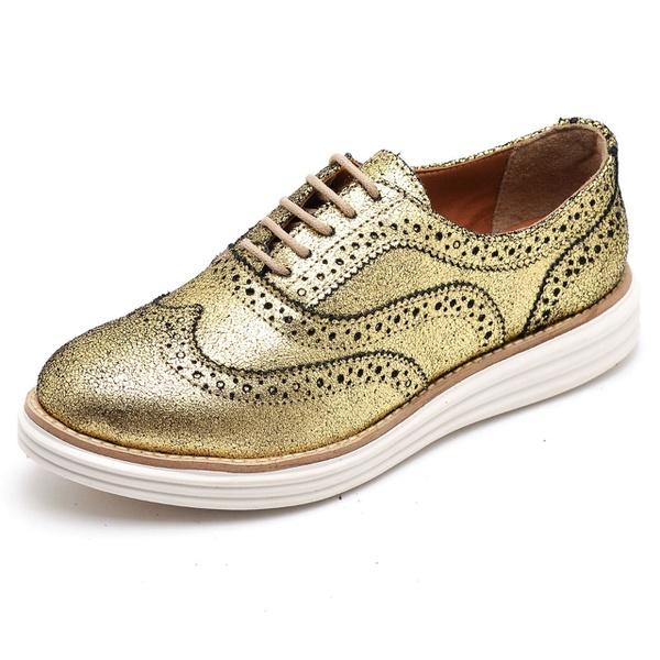 Sapato Oxford Feminino em Couro Camurça Ouro