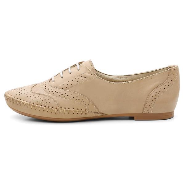 Sapato Oxford Feminino em Couro Legítimo Confort Areia