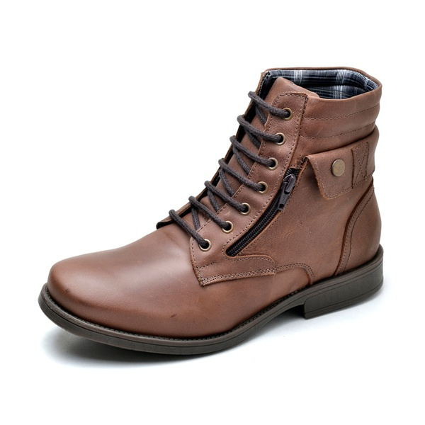Bota Coturno Worker Casual Masculina Couro Legítimo R.o. - 896 - Fossil