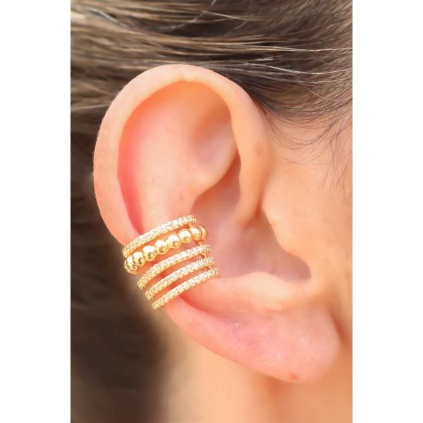 Piercing Cravejado com Micro Zircônia no Banho de Ouro 18 K