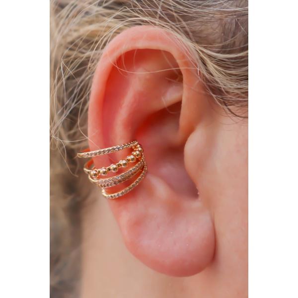Piercing 4 fileiras cravejada com micro zircônia no banho de Ouro 18K