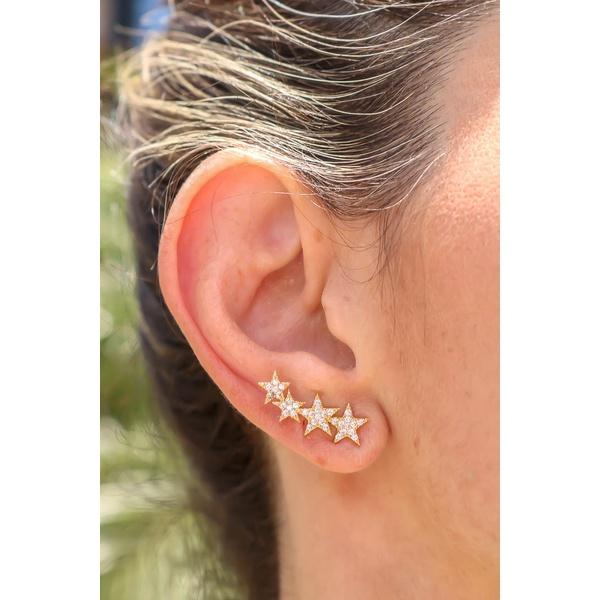 Brinco Ear Cuff Estrela Todo Cravejado Com Micro Zircônia No Banho de Ouro 18k