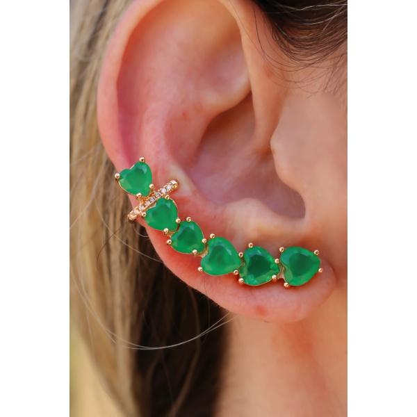 Brinco Coração Ear Cuff com Piercing No Banho de Ouro 18K