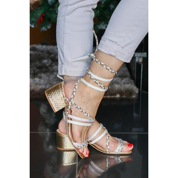 Sandália Dourada com Aplicações salto bloco - Luiza Barcelos