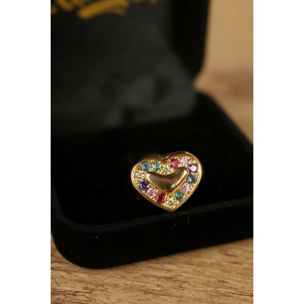 Anel coração colorido no banho de ouro 18K