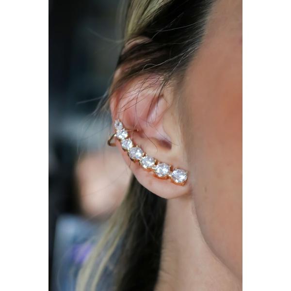 Brinco Ear Cuff Cristal no banho de Ouro 18K
