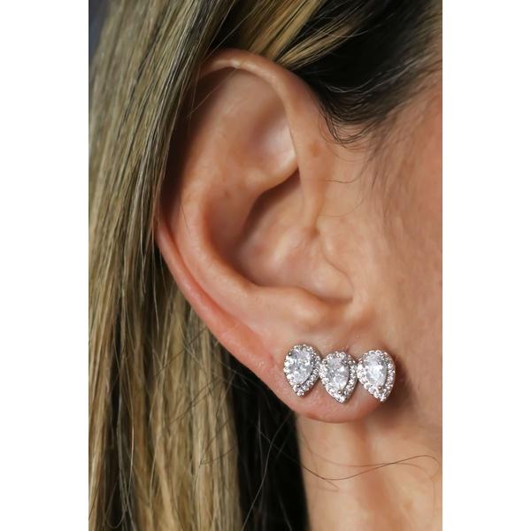 Brinco Gota Ear Cuff Cristal No Banho de Ródio