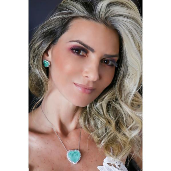 Colar Coração M Esmeralda Colombiana toda volta cravejado com Zircônia no banho de Ródio