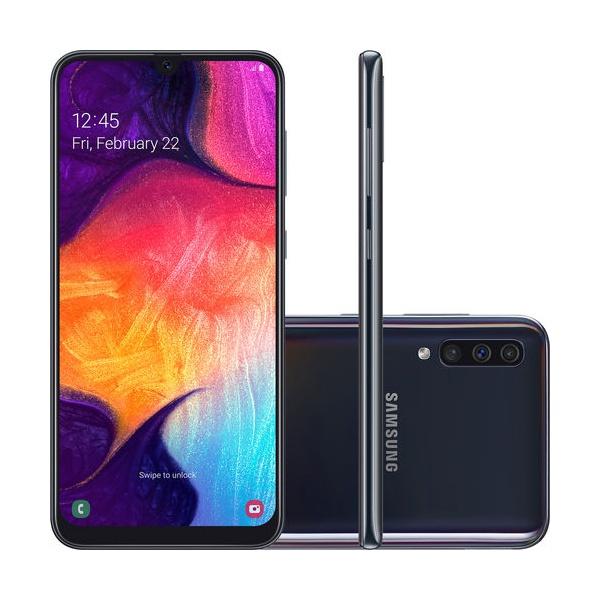 "Smartphone Samsung Galaxy A50 64GB Dual Chip Android 9.0 Tela 6,4"" Octa-Core 4G Câmera Tripla 25MP + 5MP + 8MP- Preto"