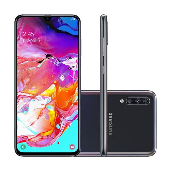 "Smartphone Samsung Galaxy A70 128GB Dual Chip Android 9.0 Tela 6.7"" Octa-Core 4G Câmera Tripla 32MP + 5MP + 8MP (UW) - Preto"