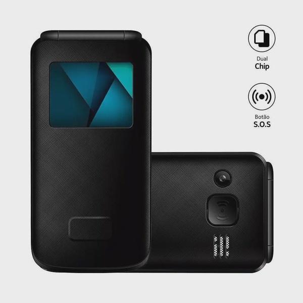 Celular Flip Vita Lite Multilaser Preto - P9142