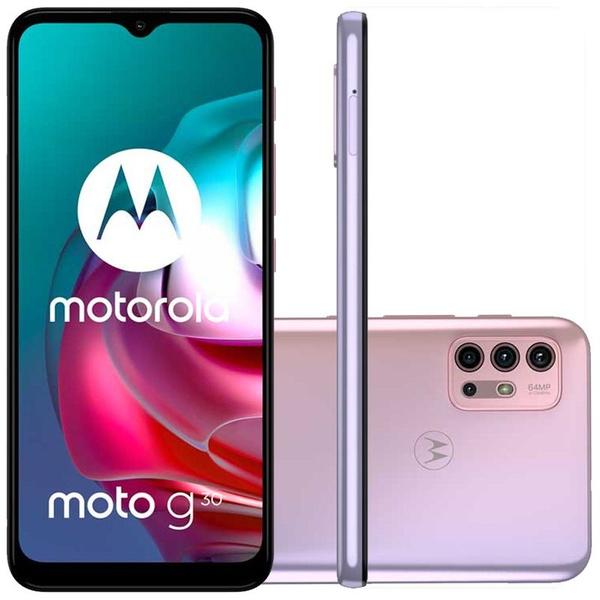 """Smartphone Motorola Moto G30 White Lilac 128GB, 4GB RAM, Tela de 6.5"""", Câmera Traseira Quádrupla, Android 11 e Processador Qualcomm 662 Octa-Core"""