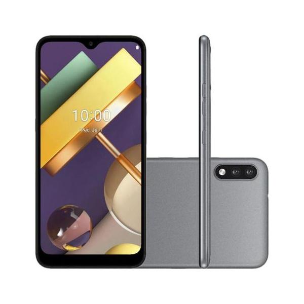 "Smartphone LG K22+ Dual Chip Android 10 Tela 6.2"" Quad Core 64GB 4G Câmera 13MP+2MP - Titânio"