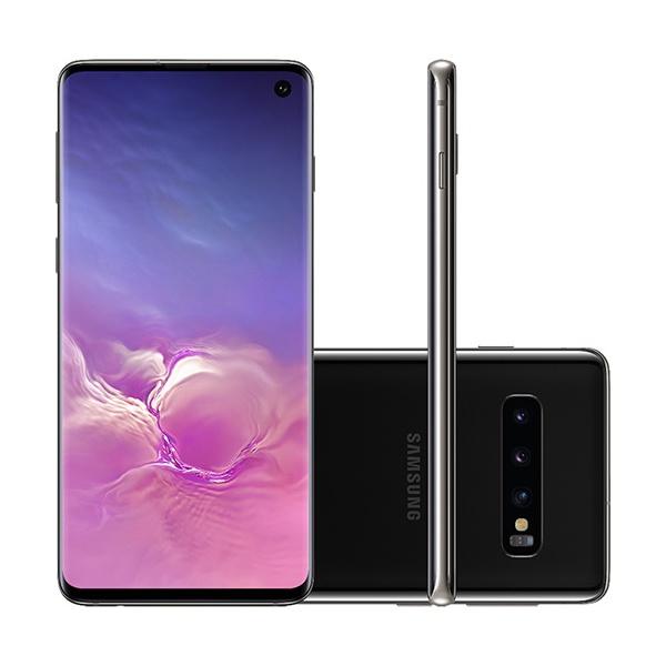 """Smartphone Samsung Galaxy S10 Preto 128GB, 8GB RAM, Tela Infinita de 6.1"""", Câmera Traseira Tripla, Dual Chip, PowerShare, Leitor Digital, Android 9.0"""