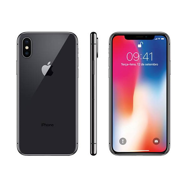 "iPhone X Cinza Espacial 256GB Tela 5.8"" IOS 11 4G Wi-Fi Câmera 12MP - Apple"