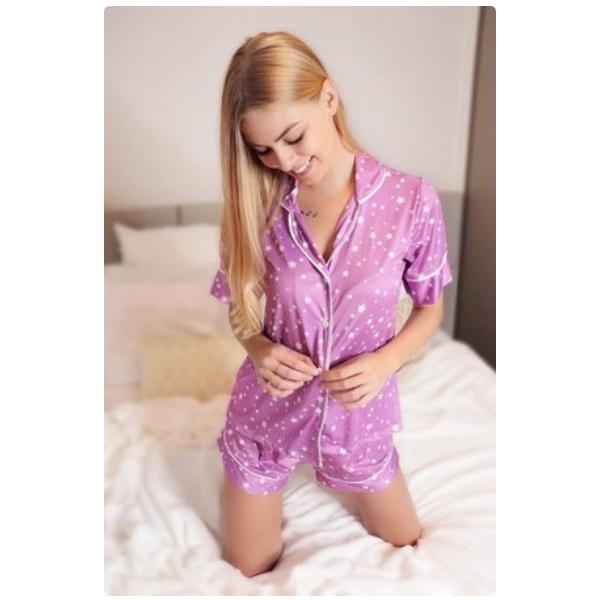 Pijama Nelly Lilás Estrelado
