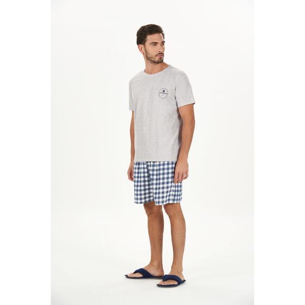 Pijama Curto Mescla e Xadrez