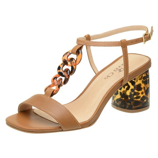Sandália couro salto bloco caramelo
