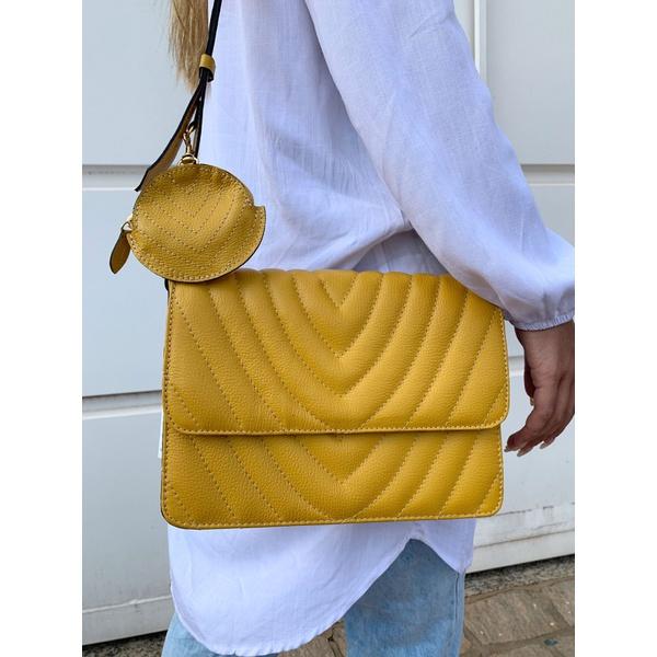 Bolsa couro amarela Donna Clô