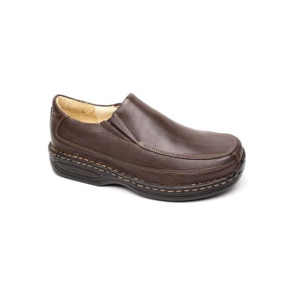 Sapato Masculino em Couro Super Conforto Cor Café