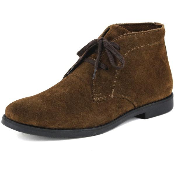 Botina Luxury Desert Boots Chelsea com Cadarço Café com sola Preta