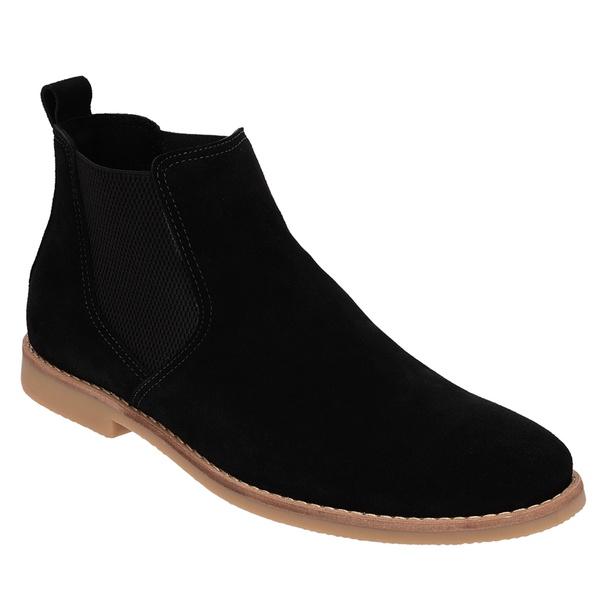 Botina Chelsea Boots em Couro Camurça Preta
