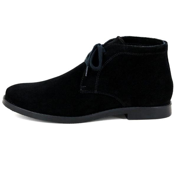 Botina Luxury Desert Boots estilo Chelsea Casual com Cadarço toda Preta