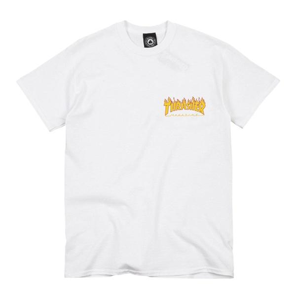 Camiseta Thrasher MC Flame Bottom White