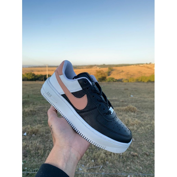 Nike Air Force 1 Preto Branco Nude