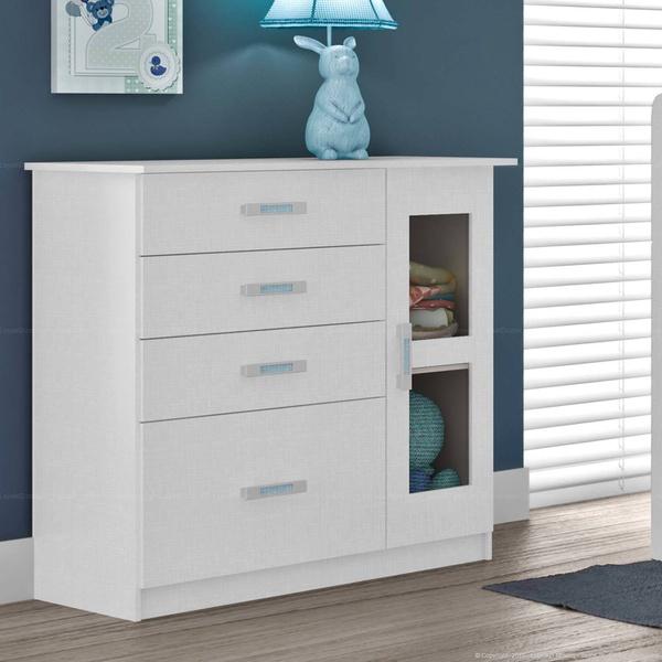 Cômoda 1 Porta e 4 Gavetas D141 100% MDF Flex Color Branco Linho Gelo/Rosa/Azul