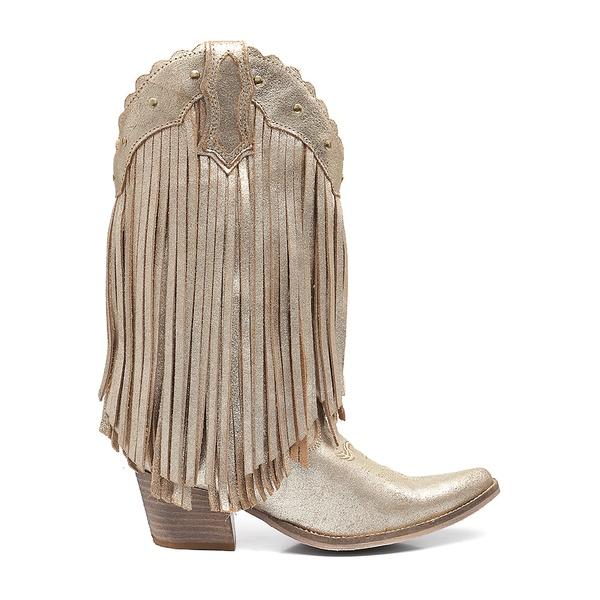 Bota Texana Feminina Lefors - Craquelê Dourado