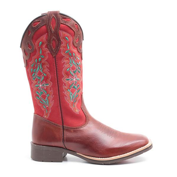 Bota Texana Feminina Dilley Fossil Vermelho Marrom