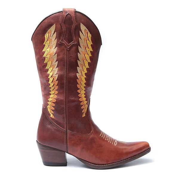 Bota Texana Feminina Venus Fossil Marrom