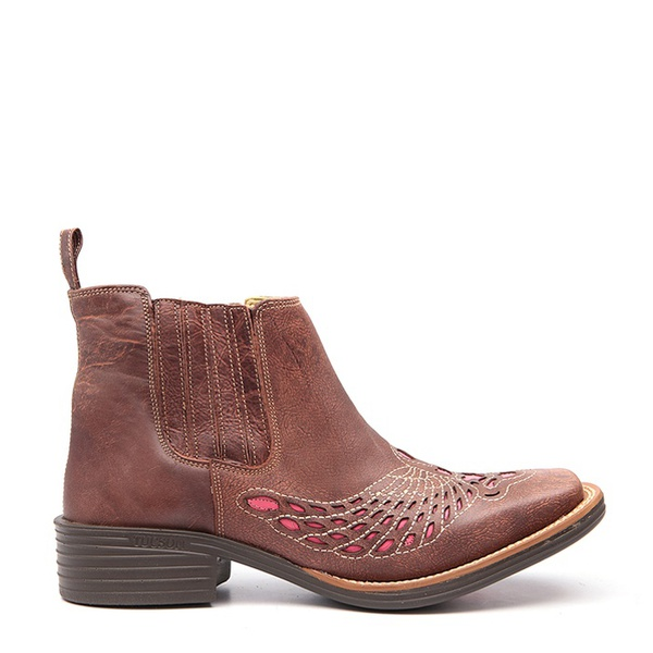 Botina Country Feminina Medina Rock Oil Camel