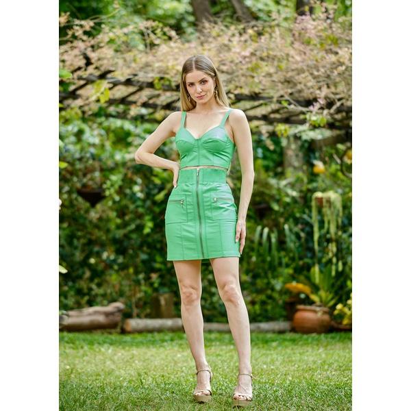 Cropped de Couro Feminino Verde