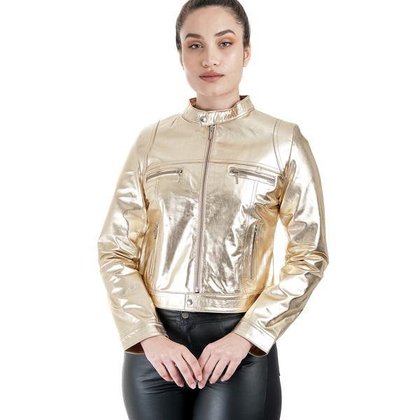 Jaqueta de Couro Feminina Dourada Cecília