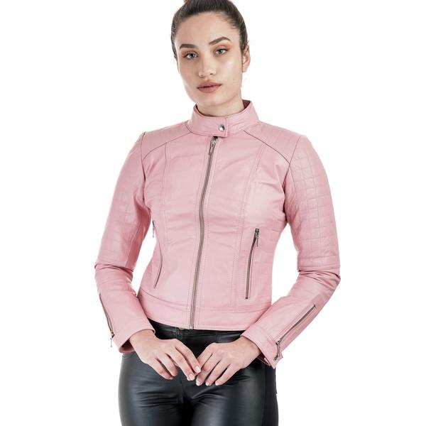 Jaqueta de Couro Feminina Rosa Verônica
