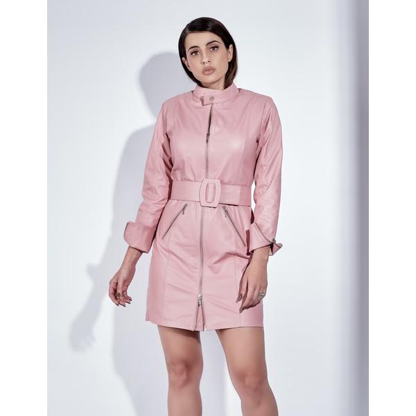 Trench Coat de Couro Feminino Rosa