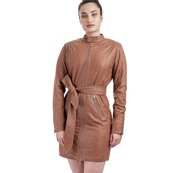 Trench Coat de Couro Feminino Caramelo
