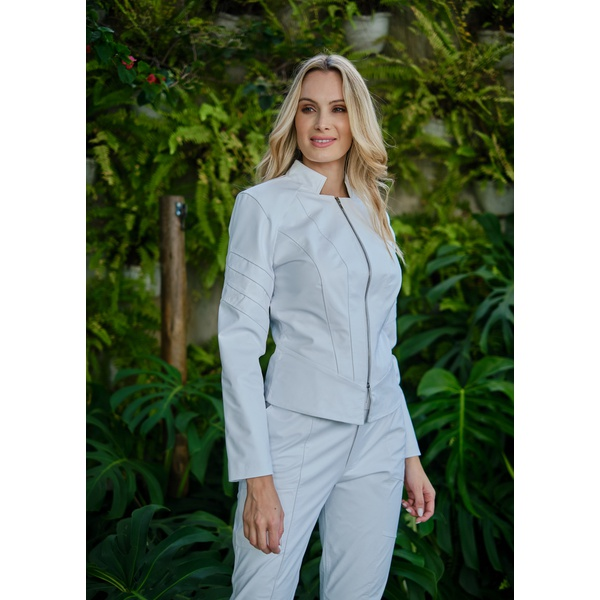 Jaqueta de Couro Feminina Branca Jolie