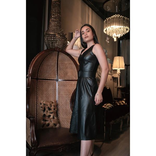 Vestido de Couro Feminino Preto Valentina